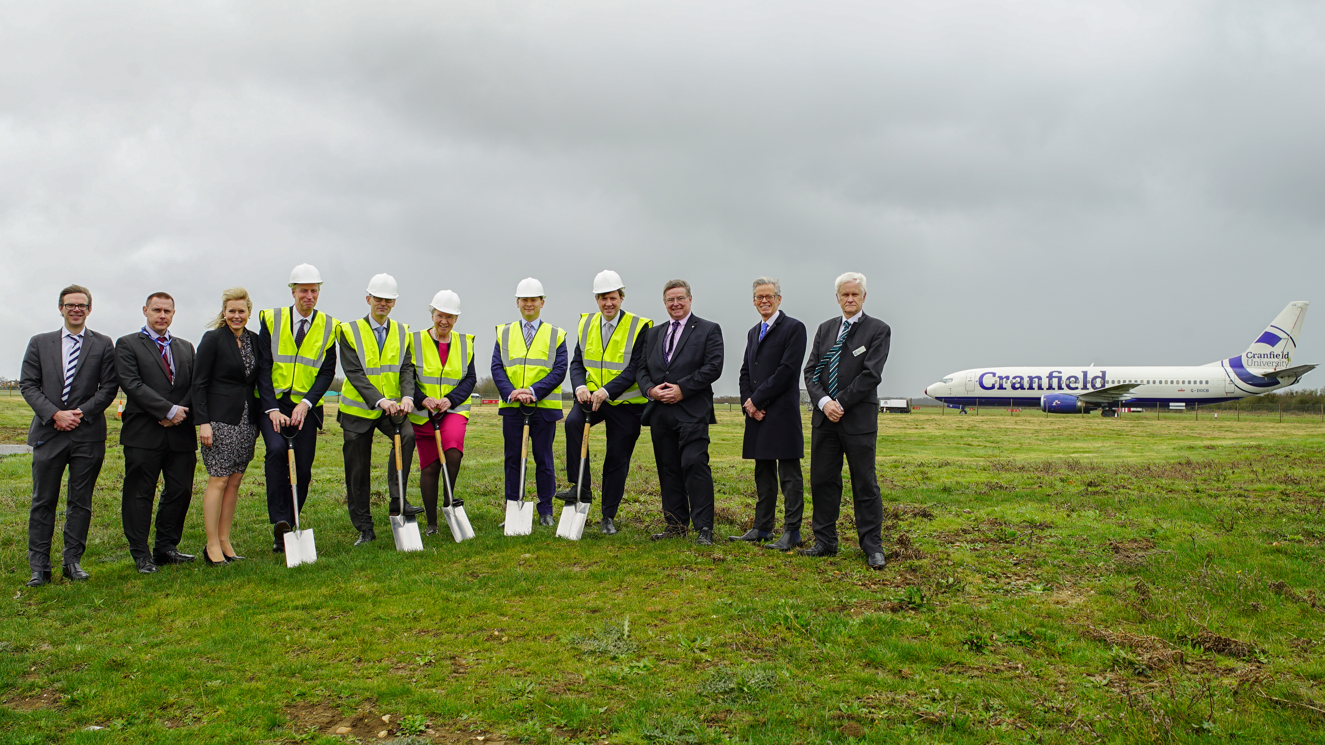 Guests at DARTEC groundbreaking at Cranfield University